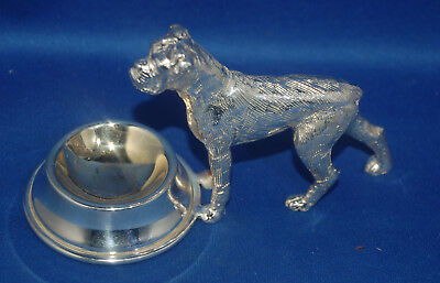 A lovely vintage silver plated ? boxer dog with bowl, salt cellar or pin dish