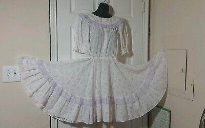 Vintage White Dress with Pockets Lavender Lace Costume Halloween Square Dancing