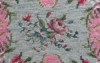 Vintage Needlwork Coverlet Hand Done Wool Florals  French