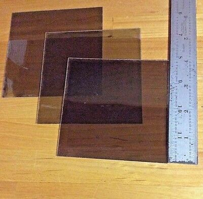 "MICA (Isinglass) SHEETS  4"" by 4""   SHADED LIGHT ""BROWN"" --ISINGLASS---LOT of  3"