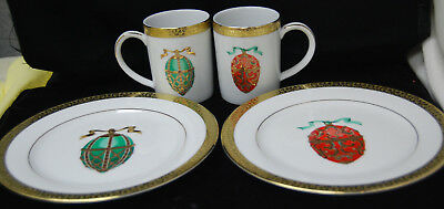 1991 Gold Buffet Royal Gallery Faberge Egg 2 Salad Plates & Mugs Gold Trim S8080