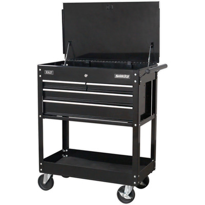 Sealey 4 Drawer Heavy Duty Mobile Tool & Parts Trolley Black