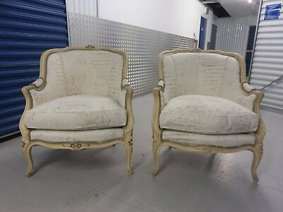 Pair of Distressed Antique French Armchairs in Carolyn Quartermaine Fabric