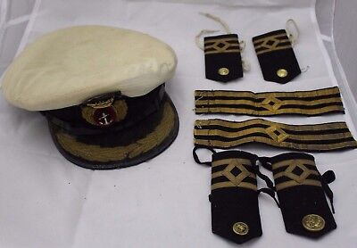 Vintage Royal Navy Imperial Sailors Hat with Badges -250