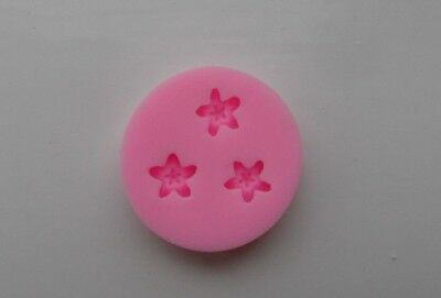 3 Cavities Mini Flower Shape  Silicone Mold For Cakes Soap Candle Craft Decorati