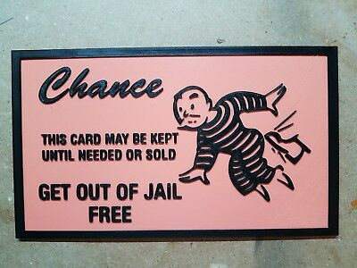Get Out of Jail Free Card (3d printed Monopoly wall logo)