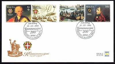 Malta 1998  Capture of Napoleon First Day Cover FDC SG 1071 - 1074 Not Addressed