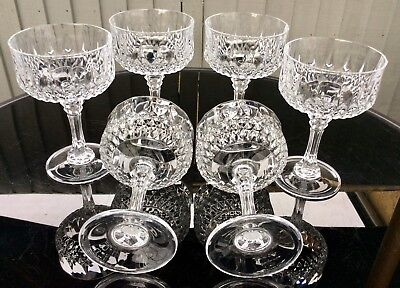 Set Of 6 Crystal d'Arques LONGCHAMP Footed Desert Dishes 24% Lead Crystal