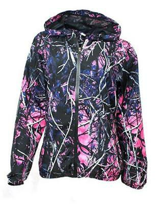 Muddy Girl Purple Pink Camo Womens Ladies Hoodie Zipper Windbreaker Coat Jacket
