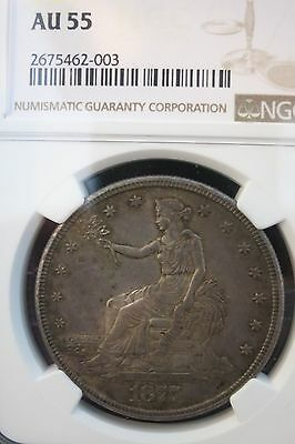 1877 S Trade Dollar, graded AU55 by NGC