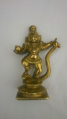 Antique Indian Hindu polished or gilt bronze Krishna god idol Cobra ext rare