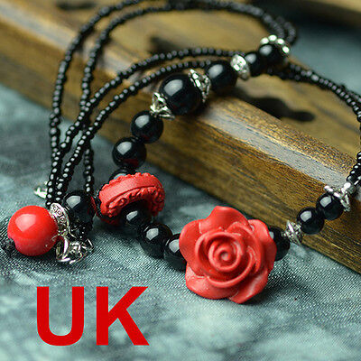 red lacquer black agate necklace/ pendant with chinese silk gift bag UK