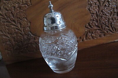 Antique Hallmarked Sterling Silver Mounted Cut Glass Sugar Caster/shaker - 1904