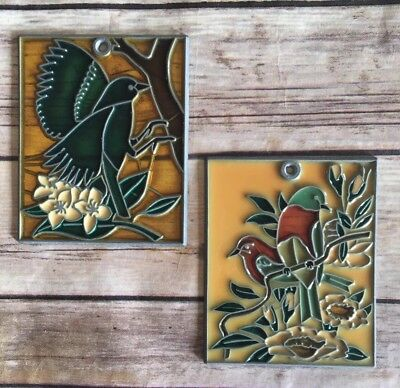 """Vintage Pair Of 4"""" x 3.5"""" Rectangle Window Suncatcher Stained Glass Birds (BinF)"""