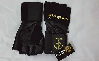 Gold's Gym Wrist Wrap Support Leather Weight Lifting Gloves