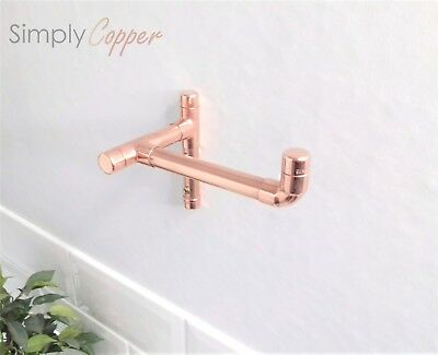 Copper T-Shaped Fixed Toilet Roll Holder - Handmade, Rose Gold, Pure Copper