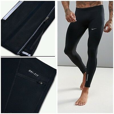 Nike Power Tech Tights Running Men's Tights Gym UFC Rugby Football Zip Pocket S