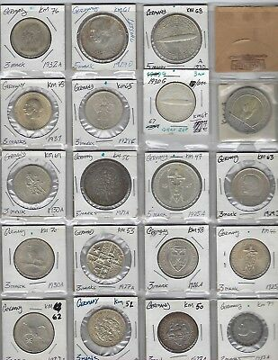 MIXED LOT OF 19 Germany Silver Reichsmark Coins, Various Dates, Contains SILVER