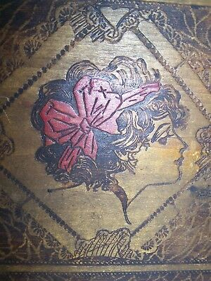 Beautiful Antique Tramp Art Wooden Box Woman with Red Hairbow