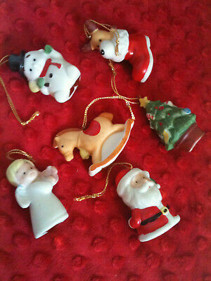 6 Pc Vintage Homco Christmas Ornaments Set 8922 Santa Tree Angel Snowman Horse