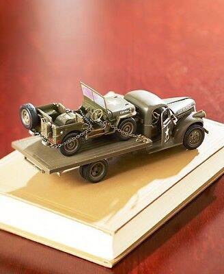 Collectible Die Cast WWII Military Vehicle Gift Set Jeep Willys & Chevy Truck