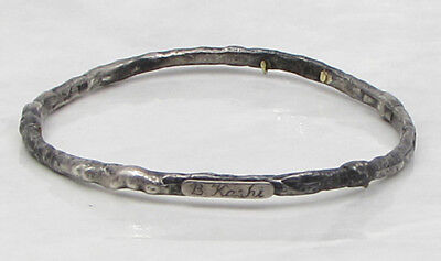 925 Sterling Silver - Vintage Antique Engraved Twig Bangle Bracelet 18.6g