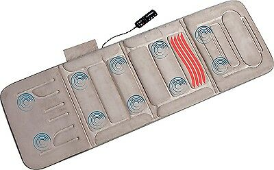 Heated Massage Mat Full Body Vibrating Back 10 Motors Massager Beige Pad Shiatsu