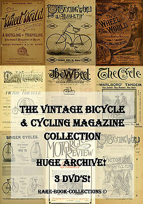 RARE VINTAGE CYCLING MAGAZINE COLLECTION ON 3 DVDs - EARLY BICYCLES MOTORCYCLES