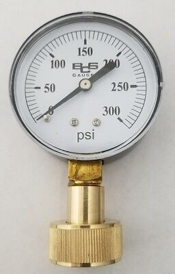 "Water Pressure Test Gauge, 300 PSI-  LARGE 2 1/2"" FACE  - FREE SHIPPING"