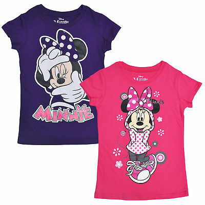 Disney Girls Minnie Mouse Glitter Graphic T-Shirts 2-PACK