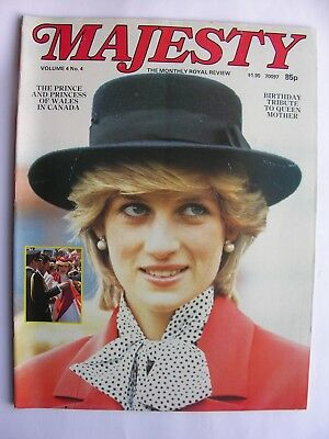 MAJESTY MAGAZINE Vol 4 No 4 Aug 1983 Queen Mother at 83, Charles Diana in Canada