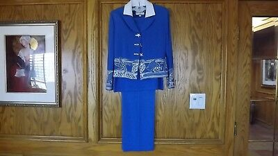 ST. JOHN Collection By Marie Gray Blue Knit 3 Piece Suit Shell Buttons Size 8