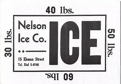 30's Nelson Ice Company Range & Fuel Oil 2-Sided Sign Worcester, Massachusetts