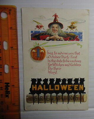 1914 Halloween Postcard With Witch From Cherokee KS To Devereaux MI (Ghost Town)