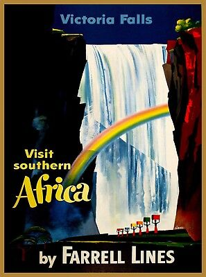 Victoria Falls Zimbabwe Southern Africa Vintage Travel  Advertisement Art Poster
