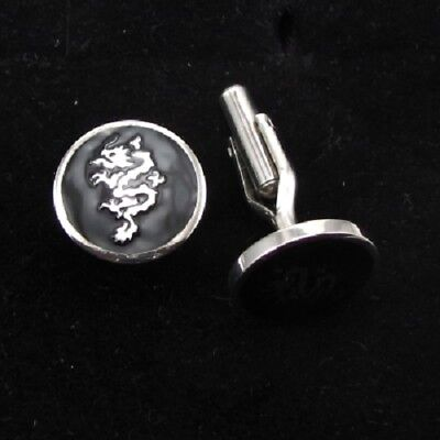 Black Dragon cufflinks (Father's day stainless steel mens gift)