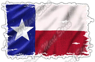 "Burlap Texas Flag Texan USA United States Car Bumper Vinyl Sticker Decal 5""X4"""
