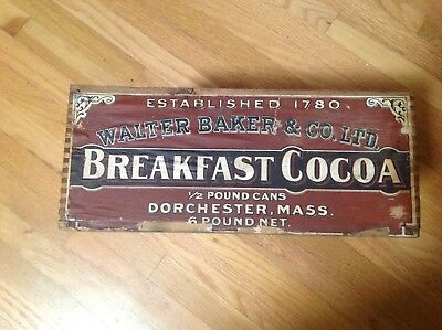Antique Wood Walter Baker & Co Breakfast Cocoa Shipping Box Crate, graphic label