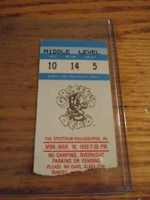 Grateful Dead Mail Order Ticket Stub, Spectrum, 03/16/1992