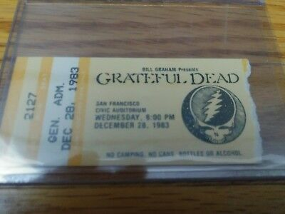 Grateful Dead Ticket Stub, Civic Auditorium 12/28/1983, San Francisco, CA