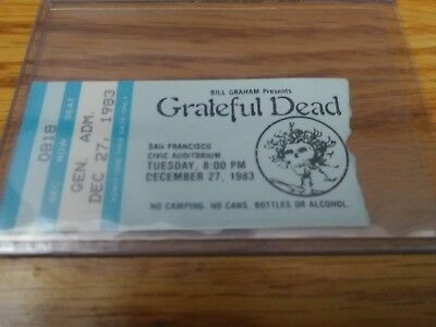 Grateful Dead Ticket Stub, Civic Auditorium 12/27/1983, San Francisco, CA