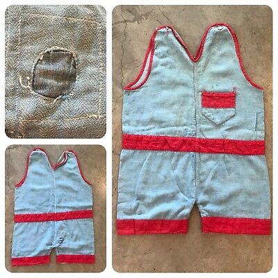 VTG 40s Chambray HBT Coveralls Work Overalls Boys Youth Carpenter Denim Patch
