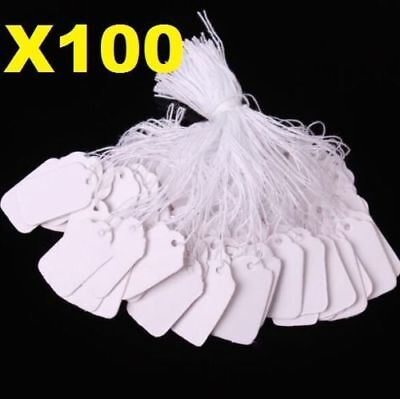 X100 White Strung String Tags Swing Price Tickets Jewelry Retail Tie On Label *