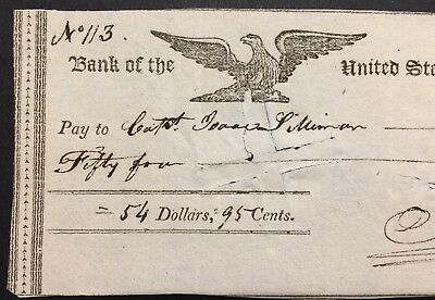 1810 Bank of North America Check for Captain Isaac Silliman $54 Engraved Eagle