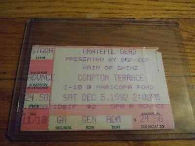 Grateful Dead Ticket Stub, 12/05/1992, Compton Terrace