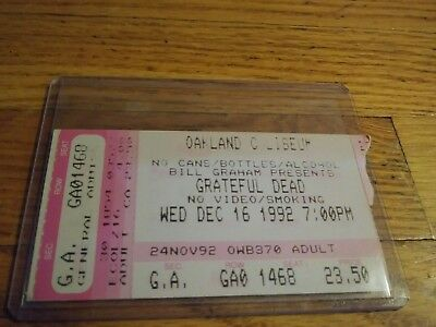 Grateful Dead Ticket Stub, 12/16/1992, Oakland Coliseum, California