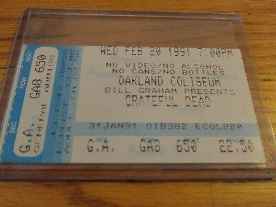 Grateful Dead Ticket Stub, 02/20/1991, Oakland Coliseum