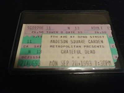 Grateful Dead Ticket Stub, MSG, 09/20/1993, Madison Square Garden