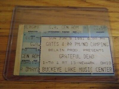 Grateful Dead Concert Ticket, 06/09/1991, Buckeye Lake, Deadheads