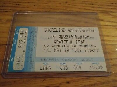 Grateful Dead Ticket Stub, 05/10/1991, Shoreline Amp, Mountainview, CA